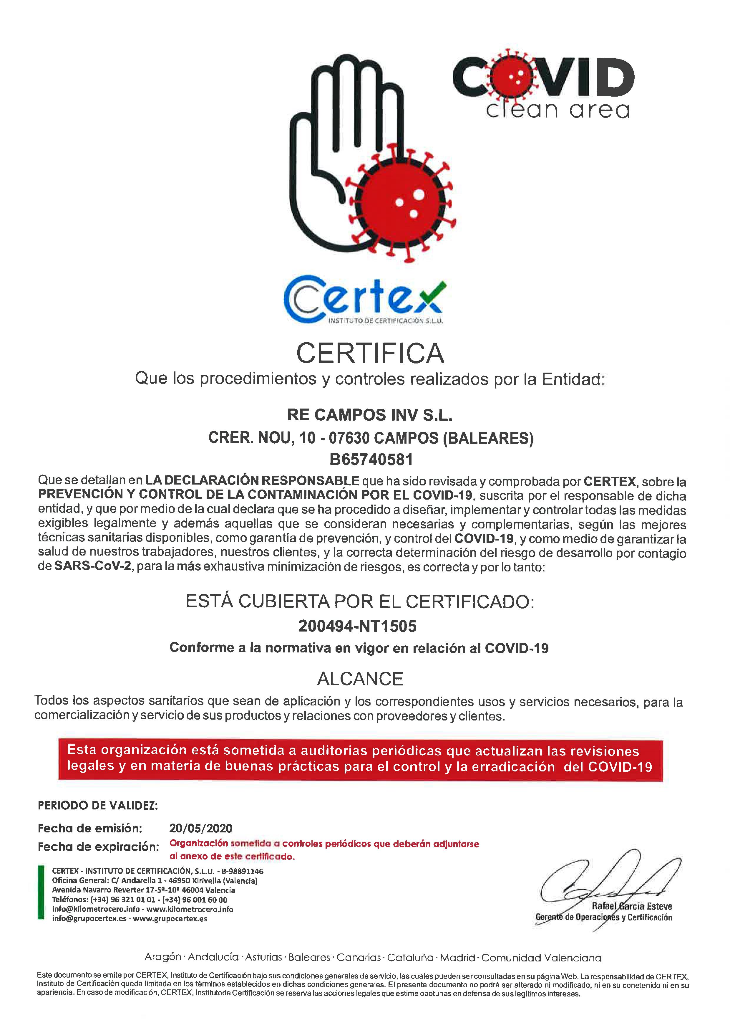 Certificado COVID-19 SA Creu Nova